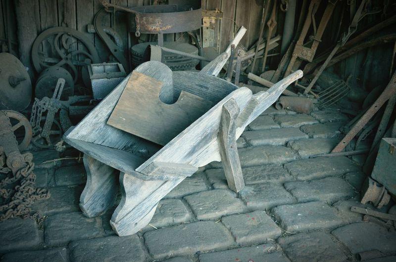 Vintage Old World Olden Days Wheelbarrow Wooden Workishard