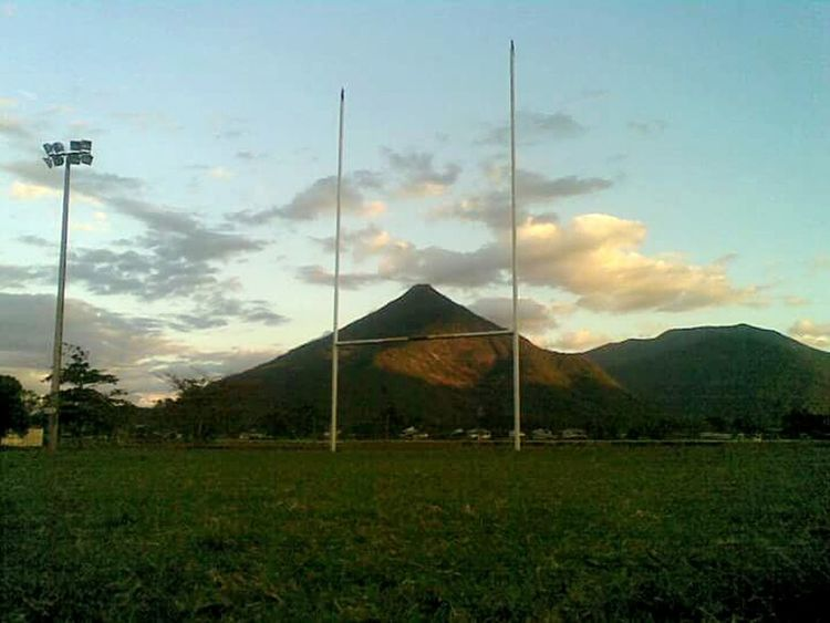 Gordanvale Fnq Fnqueensland Australia Local Football Field Walsh's Pyramid Goal Post Sky Mountain Pyramid No People Nature Outdoors