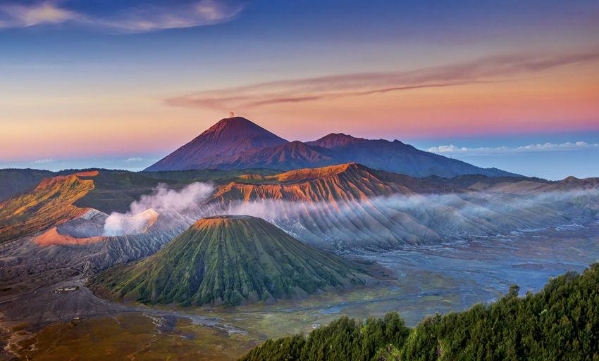 Majestic volcanic landscape at sunset