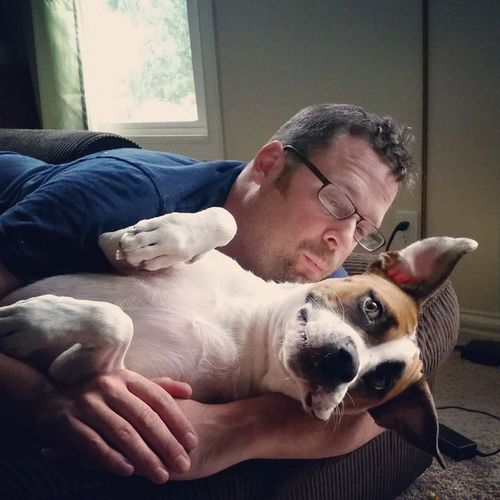 WATDAD Misscharlie Dogsofinstagram Pitbullsofinstagram prettypitty gooddog cuddles @rivergeek