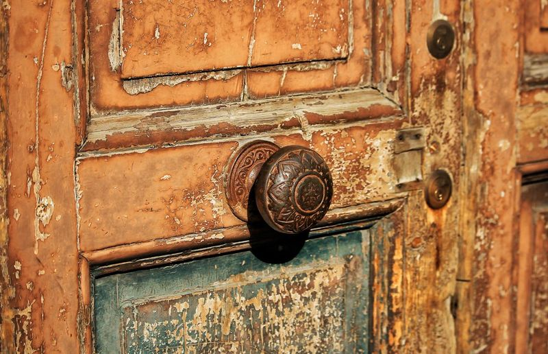 Close-up of weathered closed door