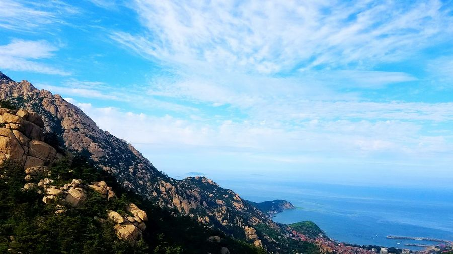 Scenic view of mountain against east china sea