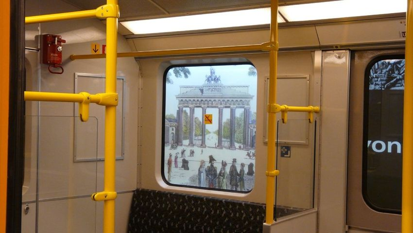 Looking out the subway window to the Brandenburg Gate