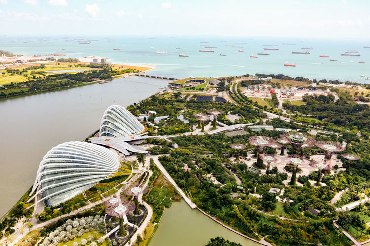 Aerial View Of Marina Bay Sands By Sea Against Sky