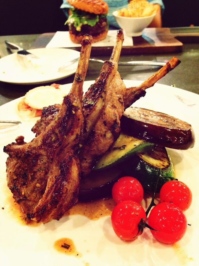 Chargrilled lamb cutlet.