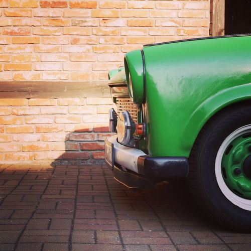 Green - Old Day Sidewalk Abandoned Wall Transportation Car Old-fashioned Land Vehicle Brick Wall Paving Stone Green Oldtimer Verchen Germany