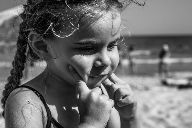 Black & White Black Background Black And White Black And White Photography Black&white Blackandwhite Blackandwhite Photography Child Childhood Children Only Close-up Cute Day Elementary Age Focus On Foreground Girls Happiness Headshot Innocence Leisure Activity Lifestyles One Person Outdoors People Real People