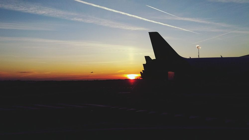 Sunrise Dawn Of A New Day Dawn Traveling Travel Photography Travel Airport Airplane Plane Good Morning Silhouette Silhouettes Silhouette And Sky Starting A Trip Feel The Journey Traveling Home For The Holidays