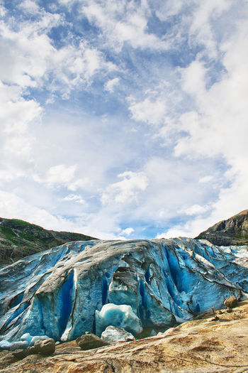 Blue Glacier Ice Nature Nigardsbreen Norway Outdoor Photography Sky And Clouds