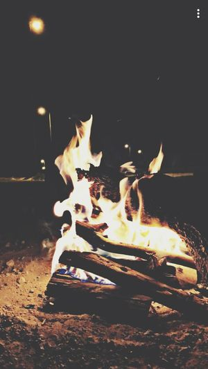 يا بسمة الليل الحلو ، يا ضحكة الوقت الحزين . سناب_شات شباب كشته Night Burning Flame Heat - Temperature No People Illuminated Outdoors