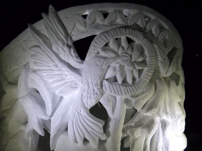 Snow carving detail Carving Wintertime Art Youtuber Night Lumix Leica Lens Panasonic  Canada Edmonton Hawrelak Park Yeg CrazyFunnyCats Silverskatefestival Art Black Background No People Close-up