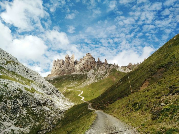 Mountain No People Landscape Cloud - Sky Outdoors Curve Nature Sky Mountain Range Scenics Day Beauty In Nature Winding Road Tree Hiking❤ Wanderlust Sommergefühle Dolomites, Italy Nature Go Higher