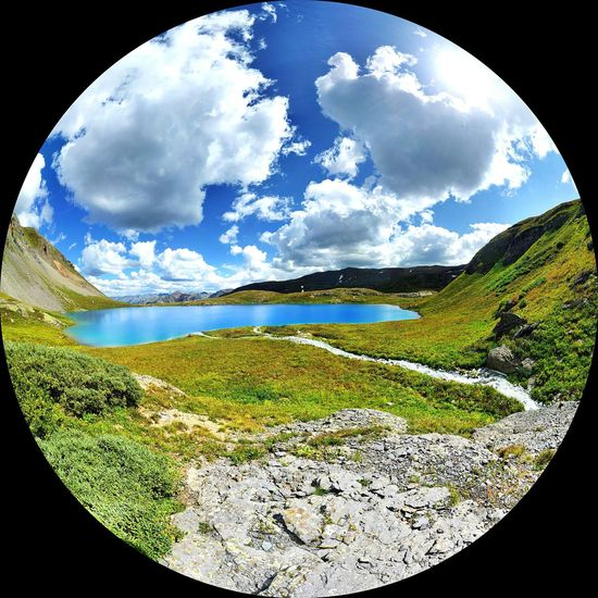 September 2017, Ice Lake, Silverton, Colorado Cloud - Sky Nature Sky No People Tranquility Mountain Beauty In Nature Fish-eye Lens Outdoors Day Vacations Road Trip Vanlife Cool Places Alpine Lake High Elevation Altitude Blue Waters Blue Lake Beauty In Nature Unusual View Mountain View Tranquil Scene Heaven On Earth Heavenly EyeEmNewHere