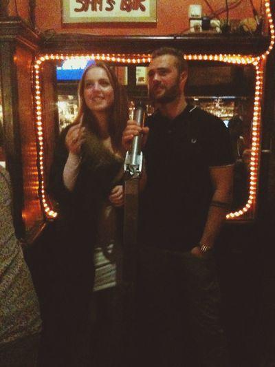 Karaoke Night Having Fun Singing Buddies Sams Bar