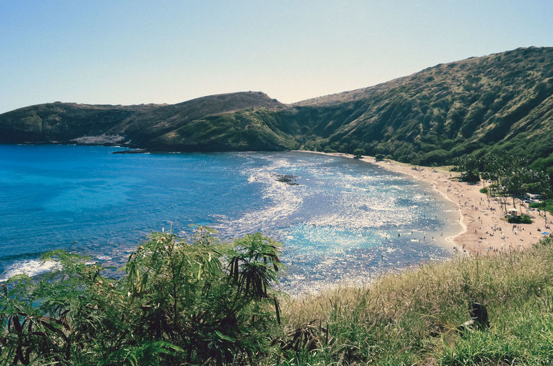 Beauty In Nature Blue Clear Sky Day Hanauma Bay Hawaii Landscape Mountain Mountain Range Nature Oahu Outdoors Scenics Sea Sky Tranquil Scene Tranquility Tree Water
