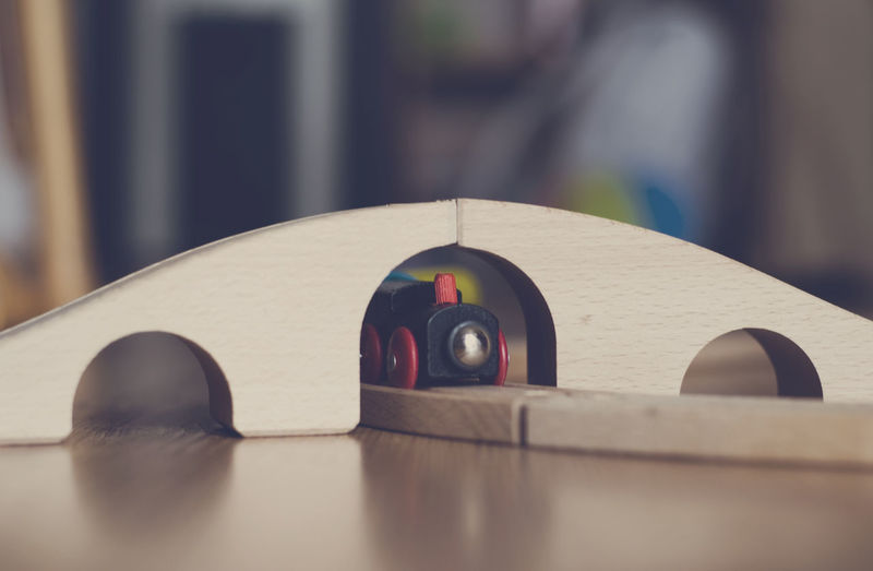 Close-up of toy train on table