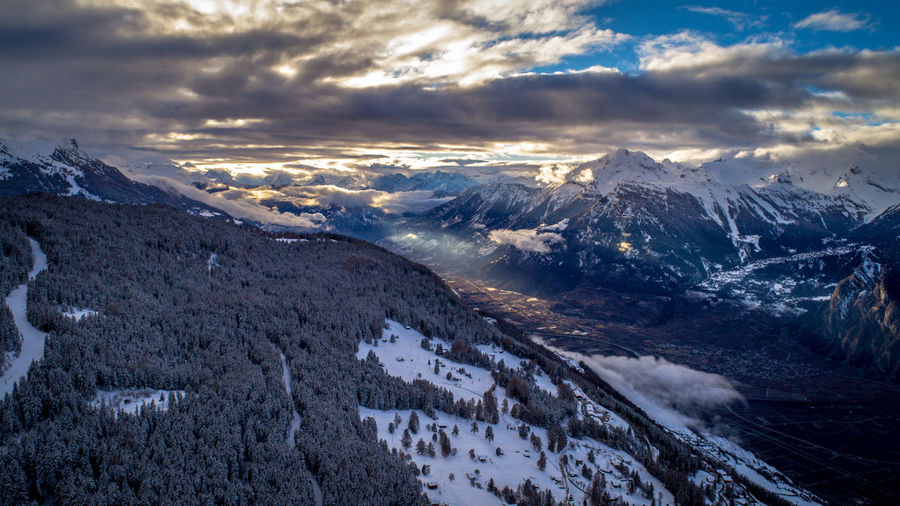 Beauty In Nature Cloud - Sky Clouds And Sky Cold Temperature Day Drone  Dronephotography Droneshot Fromabove Landscape Mountain Mountain Range Nature No People Outdoors Range Scenics Sky Snow Snowcapped Mountain Swiss Alps Tranquil Scene Tranquility Weather Winter