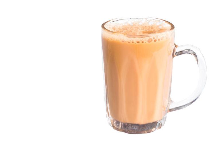 Glass of milk tea or known as Teh Tarik, popular drinks in Malaysia Teh Tarik Copy Space Cut Out Drink Drinking Glass Food And Drink Hot Drink No People Refreshment Still Life Studio Shot Tea - Hot Drink White Background