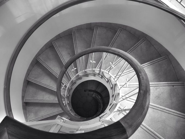 Bw_friday_eyeemchallange Bw_friday_challenge Black And White Vanishing Point Blackandwhite Stairways Urban Geometry The World Needs More Spiral Staircases Stairs Geometry