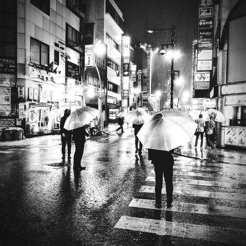 Rain City Life Phoneography Cellphone Photography Shizuoka-shi Izakaya Bar Japanese Culture Street Photography Typhoon Is Coming Night Life Japan Citylights Umberella Japan Black And White Friday B&w Street Photography B&w