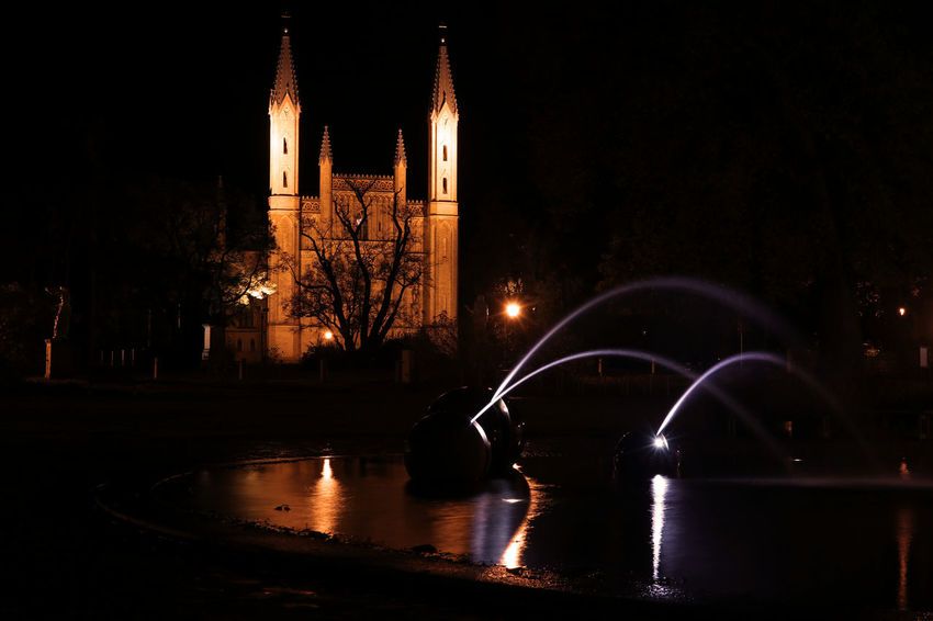 Church Kirche Mecklenburg-Vorpommern Neustrelitz Night Lights Night Photography Nightphotography Water Reflections Arch Architecture Building Exterior Built Structure Church Architecture City History Illuminated Night No People Outdoors Reflection River Water Waterdrops Waterfontain