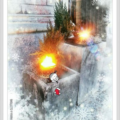 Outdoors Outdoor Candles Concrete Pots Fire Winter December 2016 Sweden UTE Marschaller Cement Krukor Eld Vinter No People