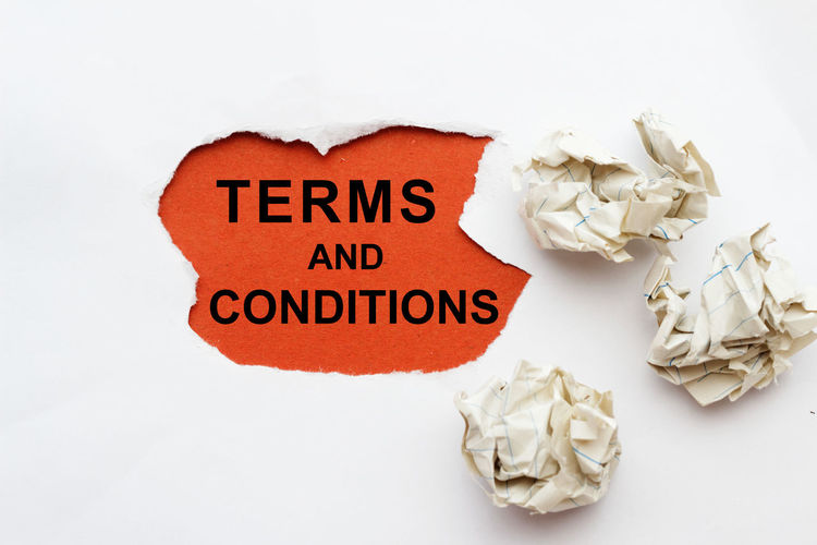 Terms and conditions concept with crumpled paper Term And Condition Term Isolated Rules Concept Conceptual Crumpled Paper White Background Paper Text Crumpled Studio Shot Close-up Message