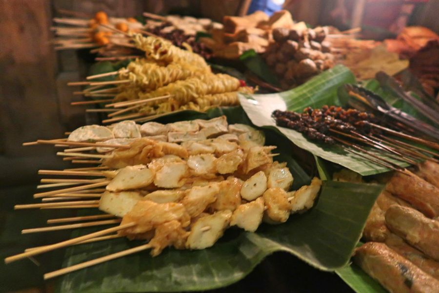 Wedangan Pendopo Abundance Angkringan Angkringan Jogja Angkringan Solo Choice Close-up Focus On Foreground Food Food And Drink Freshness Healthy Eating High Angle View Large Group Of Objects Leaf Leaves No People Plate Ready-to-eat Retail  Satay Satay With Bamboo Stick Selective Focus Skewer Wellbeing