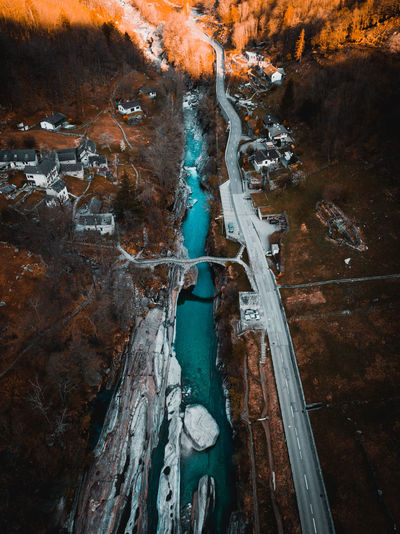 Aerial view of river during winter