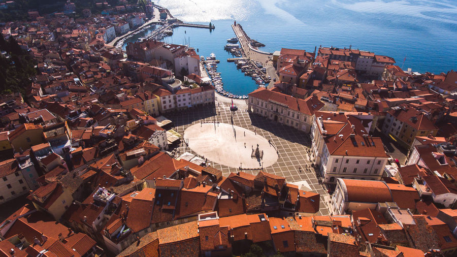 Drone  Dronephotography High Angle View Aerial View Village City Sea Water Piran Croatia Houses Architecture