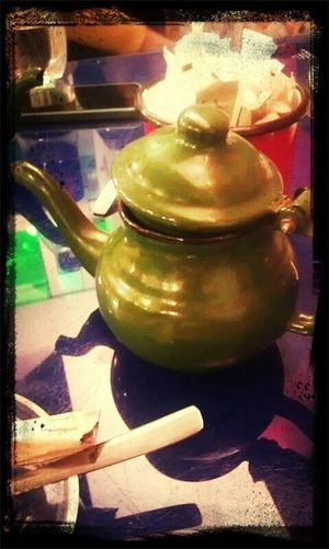 Old Teapot During a Ramadan  Hangout. Tea tastes different out of those pots.