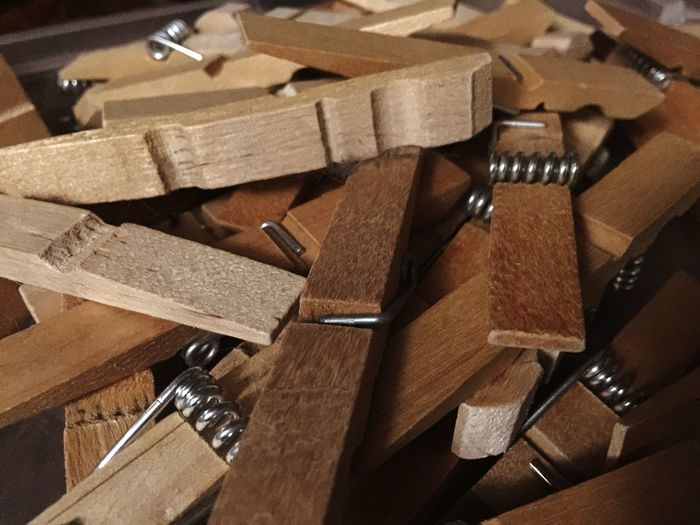 Close-up of broken clothespin