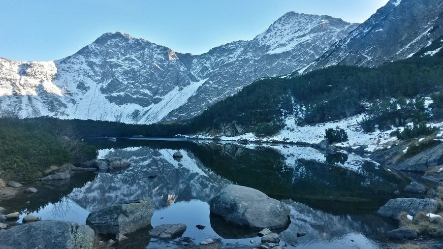 Mountain Reflection Mountain Range Landscape Outdoors Water Sky Day Lake Winter Adventure Nature Colors Tree Forest Homeland Beauty In Nature Happylife Enjoyeverymoment Cold Temperature Thisisslovakia Freedom Roháče