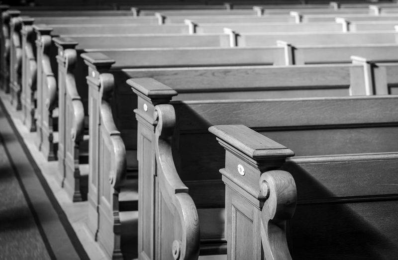 Black And White Wood - Material Bench Seating Bench Chairs In A Row Church Pew Pews Still Life Indoors  No People Absence Staircase Architecture Empty Seat Focus On Foreground Order Large Group Of Objects Railing Repetition High Angle View Built Structure Day Selective Focus Education