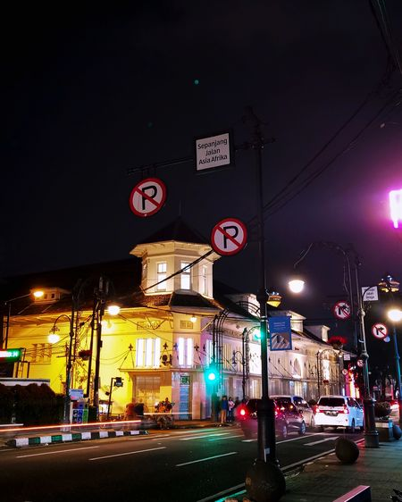 View of city street at night