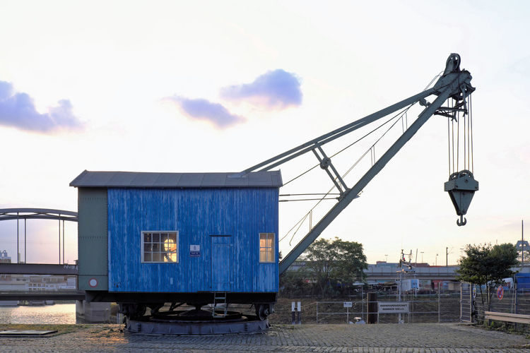 blue enough Architecture Blue Building Exterior Built Structure Cloud Cloud - Sky Crane - Construction Machinery Day Industrial Landscapes Industrialbeauty Man Made Object No People Outdoors Sky Wood