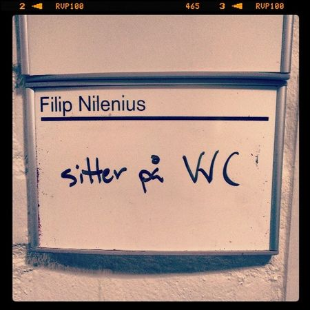 Haha... That's a funny one! One of my colleague wrote on his whiteboard: sitting on WC ッ I guess he meant sitting on Väg- och Vatten Chalmers (VVC), i e, Chalmers architecture building ✌✍ ヅ ╰☆╮