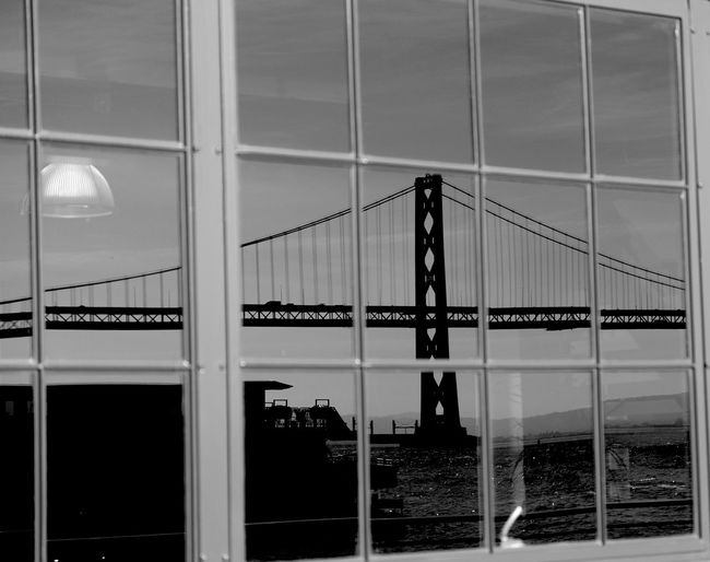 Bay bridge seen through window