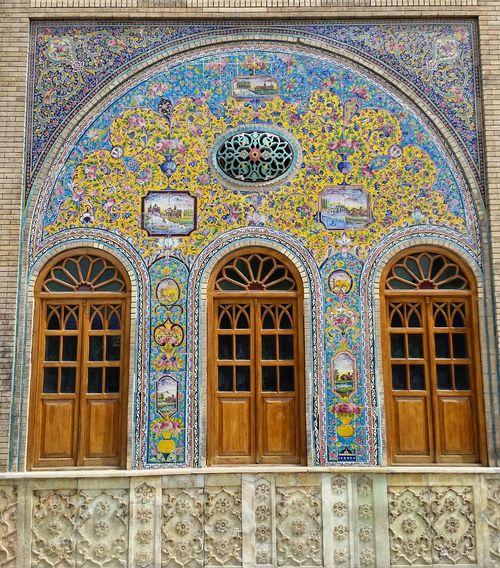 کاخ موزه گلستان تهران کاخ_گلستان ایران Iran Tehran Golestan Palace Window Pattern Ornate Design Multi Colored Architecture Day Tile Built Structure Full Frame No People Indoors