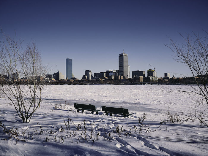 Scenic View Of Frozen River Against Clear Sky During Winter
