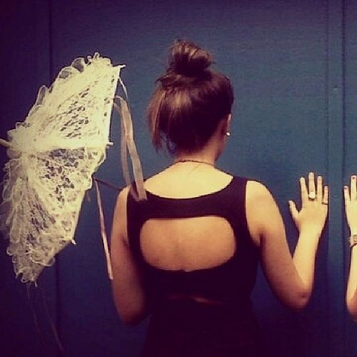 Lace Umbrella Wall Openback brunette photoshoot
