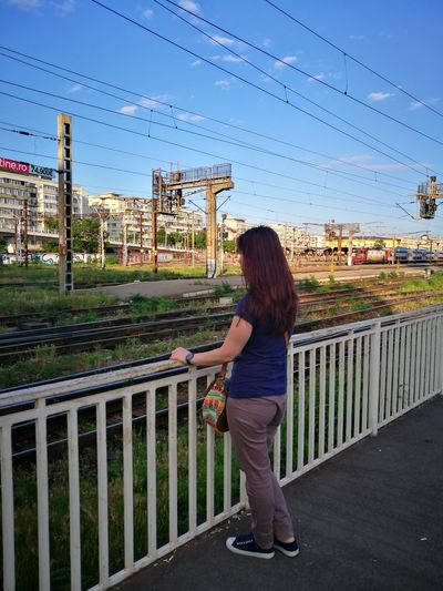 Waiting for the train Long Hair Only Women One Person Full Length One Young Woman Only Outdoors Day Sky City Train Station Eyemtravel Live For The Story EyeEmNewHere Lost In The Landscape