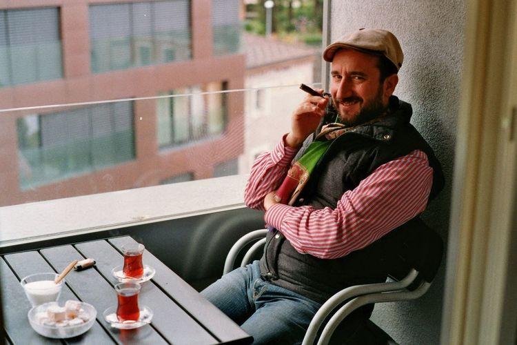 Young man smoking cigarette