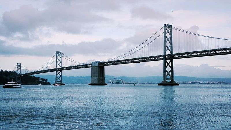 Sky Bridge - Man Made Structure Water Suspension Bridge Built Structure Connection Travel Destinations Sea Travel Overcast Architecture Outdoors Engineering Cloud - Sky Scenics San Francisco Bay Area California Business Finance And Industry Transportation Development Metal Cable