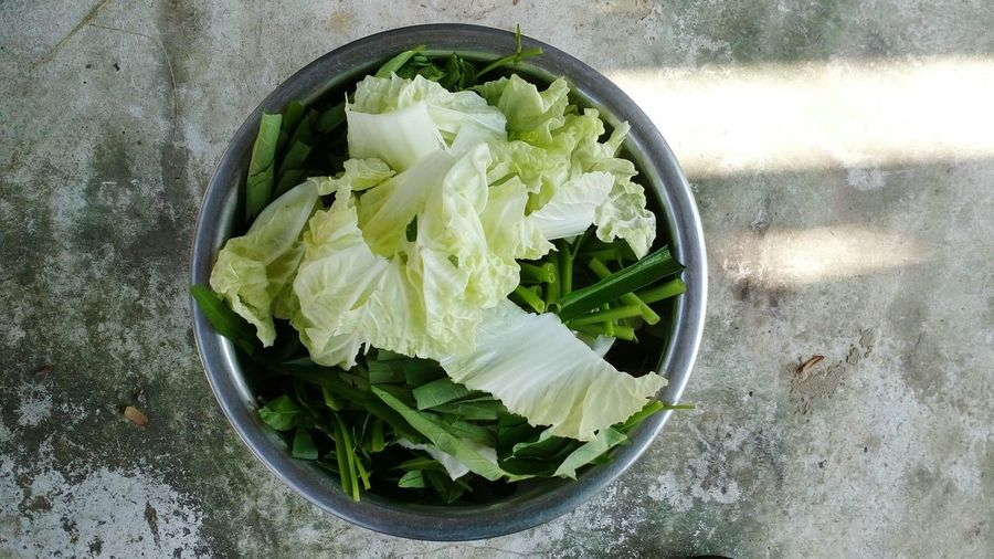 High angle view of salad in bowl