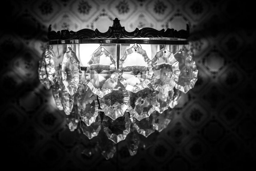 Simplicity Art And Craft Black & White Black And White Blackandwhite Bokeh Close Up Close-up Depth Of Field Design Detail Full Frame Glass - Material Illuminated Indoors  Lamp Light Lighted Lit Ornate Pattern Textured  Wall Lamp Wallpaper Pattern Pieces