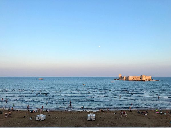 Kızkalesi beach Sky Water Sea Beach Land Scenics - Nature Beauty In Nature Horizon Nature Clear Sky Horizon Over Water Tranquility Tranquil Scene Copy Space Blue Transportation Sand Day No People Outdoors