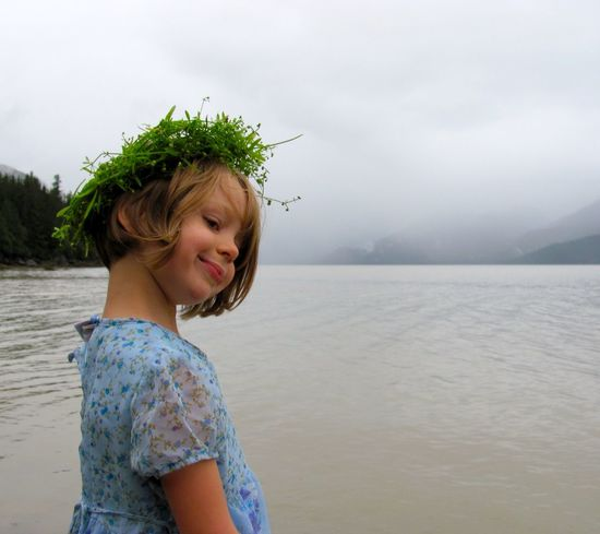 Princess Alaska Blue Dress Casual Clothing Crown Cute Flower Child Flower Crown Focus On Foreground Kids In Nature Lifestyles Outdoors Portrait The Great Outdoors - 2016 EyeEm Awards The Great Outdoors With Adobe Tranquil Scene Tranquility Water Wild Child Wildflower
