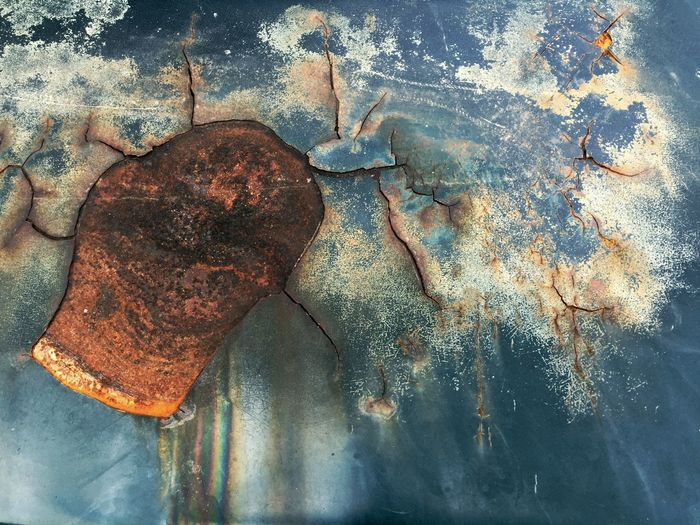 Surface Crop  Rust Wall Fade Break Old Aged Abrasive Stain Fracture Crack No People Day Outdoors Rusty Textured  Nature Close-up