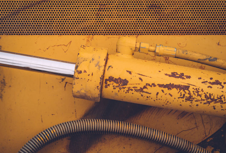 Abstract Bulldozer Close-up Day Hydrolic Hydrolic Pump Metal No People Nut - Fastener Yellow Yellow Color